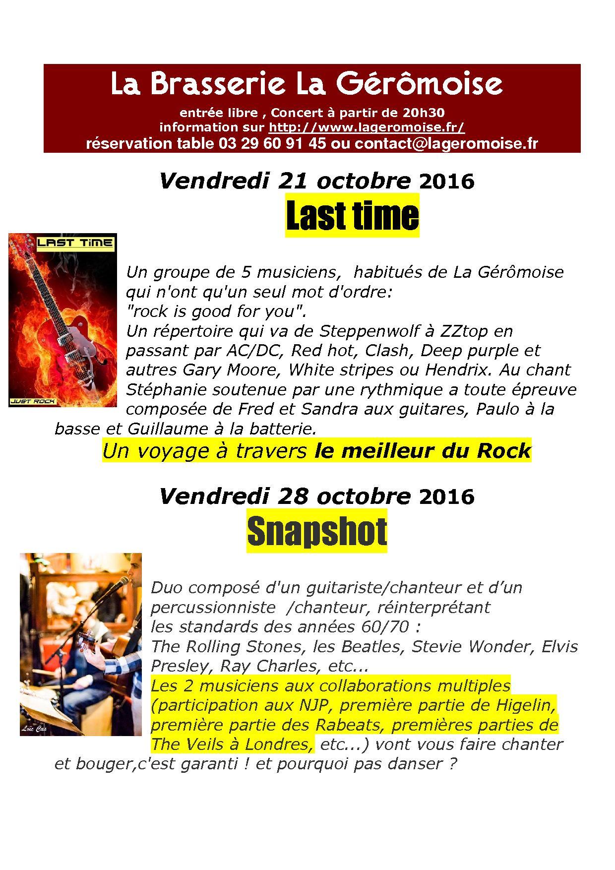 Brasserie g rardmer concerts - Vacances de la toussaint 2016 ...