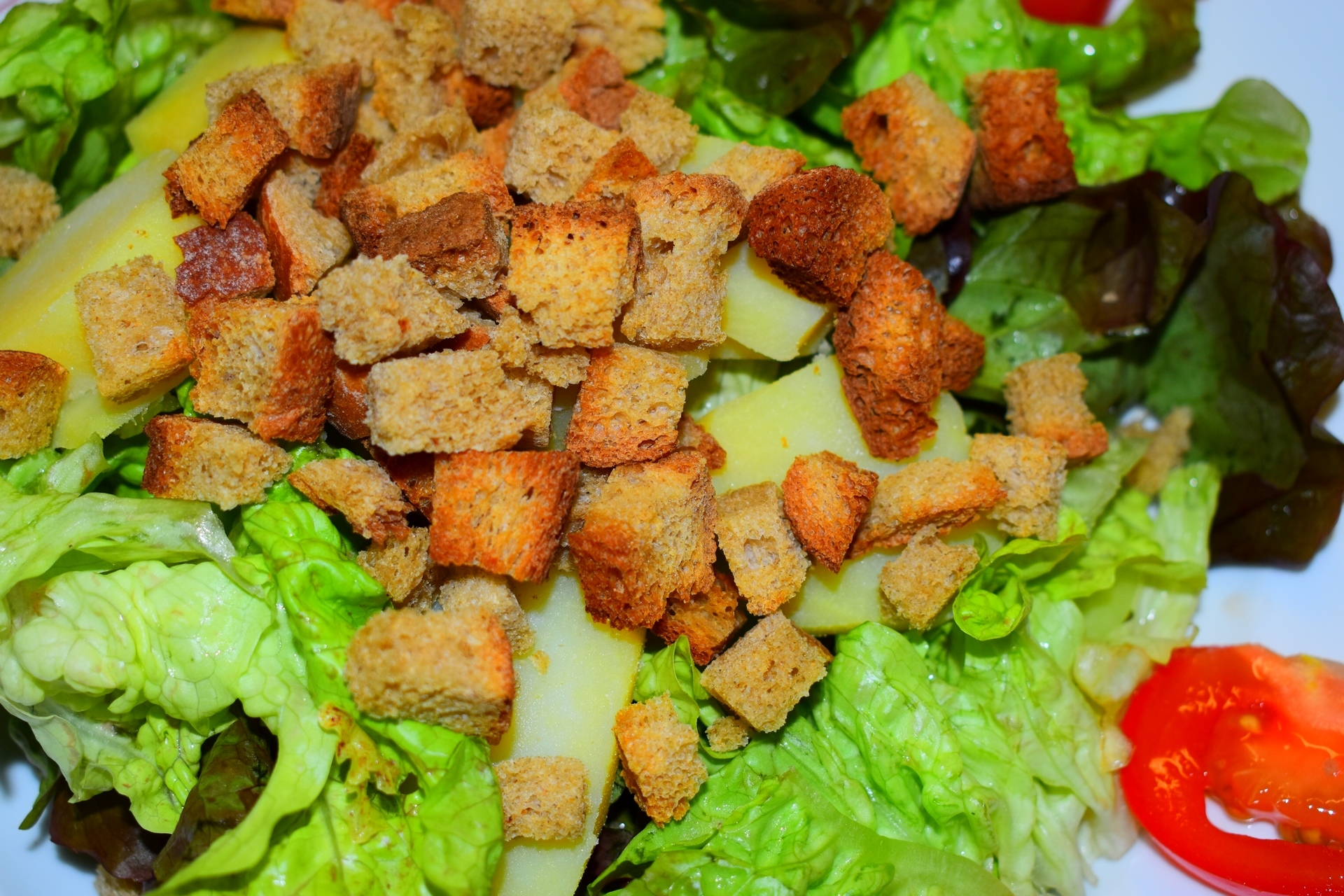 salade et crouton de pain